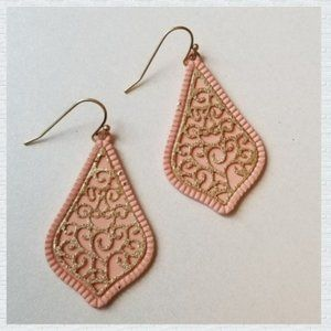 🆕️ New listing! Pink and Gold Stencil Earrings